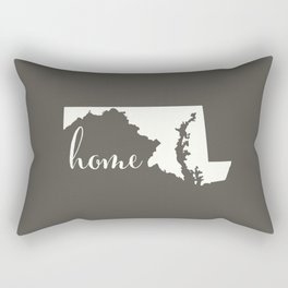 Maryland is Home - White on Charcoal Rectangular Pillow