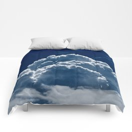 Puffy Cumulus clouds on Deep Blue Sky Comforters