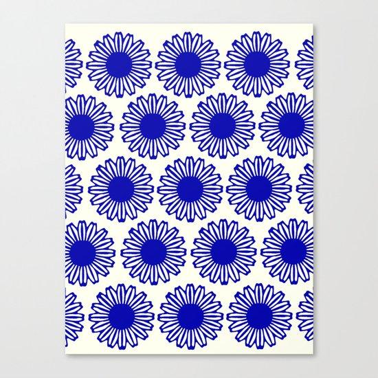 vintage flowers blue  Canvas Print