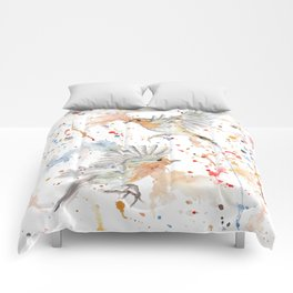 """Watercolor Painting of Picture """"Robins"""" Comforters"""