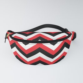 Red Black and White Chevrons Fanny Pack