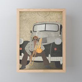 Trombone musician and his pickup truck Framed Mini Art Print
