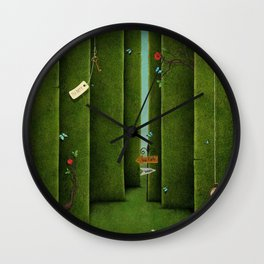 Conceptual green maze and fantasy objects Wall Clock