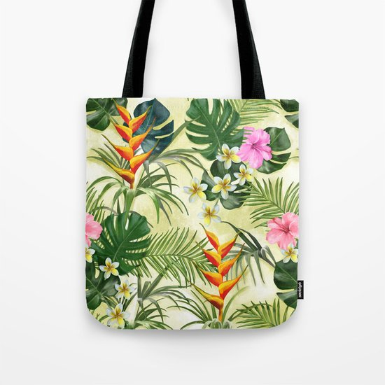 Tropical pattern with flowers Tote Bag