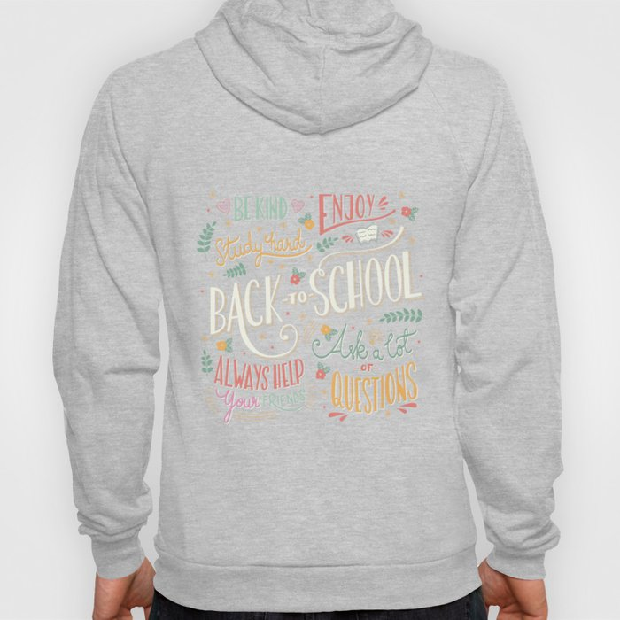 Back to school colorful typography drawing on blackboard with motivational messages, hand lettering Hoody