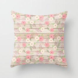 Pink and Cream Roses Pattern Throw Pillow