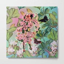 Vintage Flower Fairy Metal Print