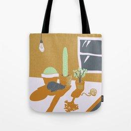 Sleepy Kitty in Cacti Shade Tote Bag