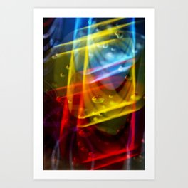 Neon Storm Nightlife Bubbles  Art Print