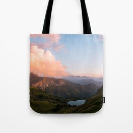 Mountain lake in Germany with Moon - landscape photography Tote Bag