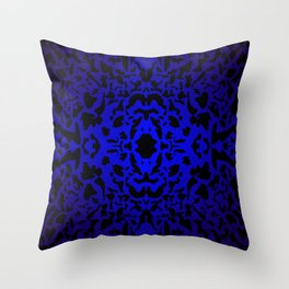 Openwork ornament of blue spots and velvet blots on black. Throw Pillow