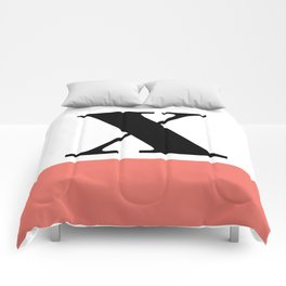 Monogram Letter X-Pantone-Peach Echo Comforters