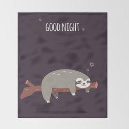 Sloth card - good night Throw Blanket