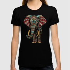 Ornate Elephant (Color Version) Black Womens Fitted Tee SMALL
