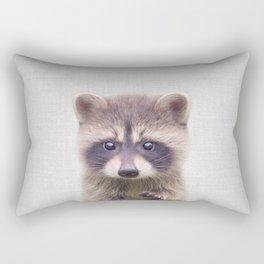 Raccoon - Colorful Rectangular Pillow