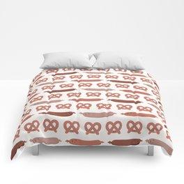 Cute vector pretzel cartoon and german sausage Comforters