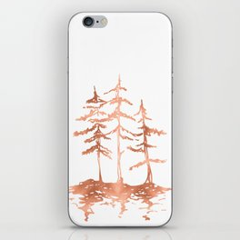 Three Sisters Trees Rose Gold on White iPhone Skin