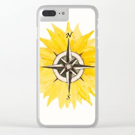 Compass  Sunflower Clear iPhone Case
