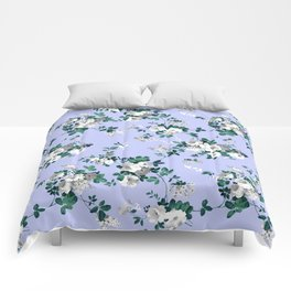 Vintage lavender white emerald green floral Comforters