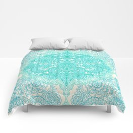Happy Place Doodle in Mint Green & Aqua Comforters
