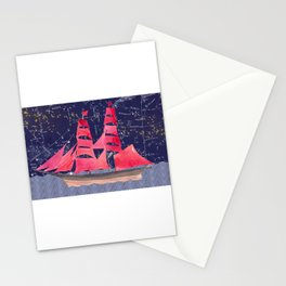 Sailing on a starry night Stationery Cards