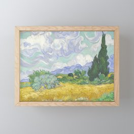 A Wheatfield with Cypresses by Vincent van Gogh Framed Mini Art Print