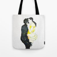 kiss Tote Bags featuring KISS by SEVENTRAPS