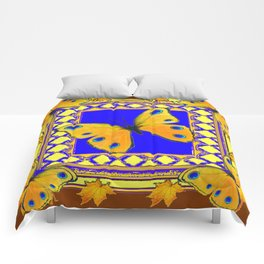 Golden Yellow Yellow Spotted Butterflies Brown-Blue Art Comforters