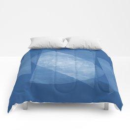 Blue Geometric Abstract Mid Century Modern Comforters