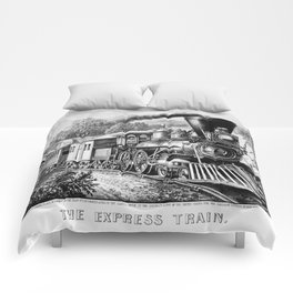 The Express Train: Currier & Ives 1870 Comforters