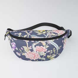 Chinoiserie Flowers and Birds Pattern Fanny Pack