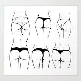 Study of the female buttocks Art Print