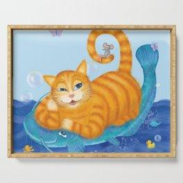 Orange tabby cat & blue catfish  Funny kids illustration Serving Tray