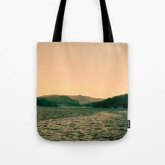 Sunsetting landscape photography of sky, lake and mountain. Tote Bag