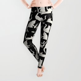 Bad Cats Knocking Things Over, Black & White Leggings