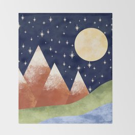 Full Moon In The Mountains Throw Blanket