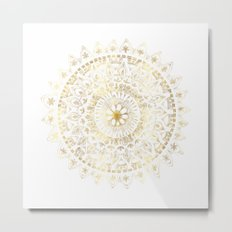 Gold Hand Drawn Mandala Metal Print