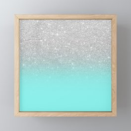 Modern girly faux silver glitter ombre teal ocean color bock Framed Mini Art Print
