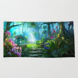 Fascinating Gorgeous Idyllic Dreamy Magic Garden UHD Beach Towel