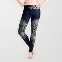 and Leggings featuring Cream Floral Moroccan Pattern on Deep Indigo Ink by micklyn