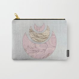 Elegant Pastel Rose Gold Marble Half Moon Design Carry-All Pouch