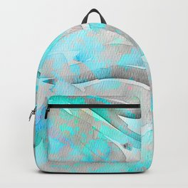 Abstract modern aqua gray watercolor brushstrokes pattern Backpack