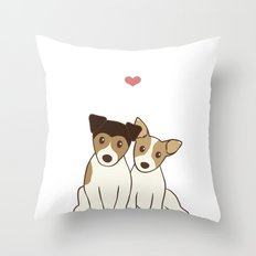 Dogs in Love Illustration Throw Pillow