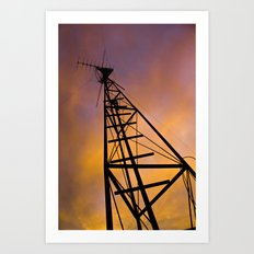 The Old Radio Tower at Sunset Art Print