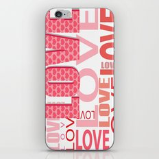 The Word Love In Red With Hearts iPhone & iPod Skin