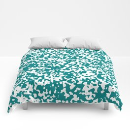 Small Spots - White and Dark Cyan Comforters