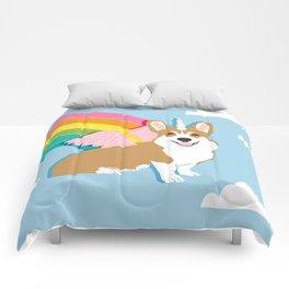 Corgicorn - cute pastel corgi unicorn pegasus rainbow cute kawaii unicorn corgi Comforters