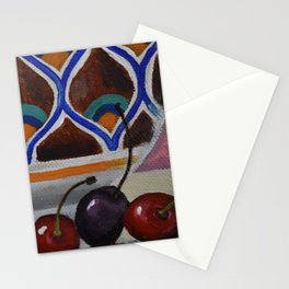 Three red cherries with Moroccan pottery Stationery Cards