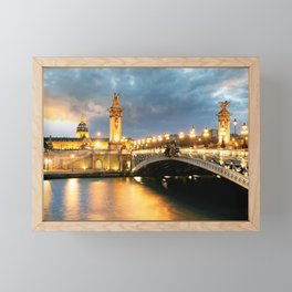 Night view of Paris Bridge Alexandre III Framed Mini Art Print