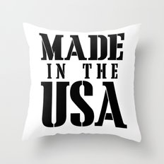 Made in the USA - black text Throw Pillow